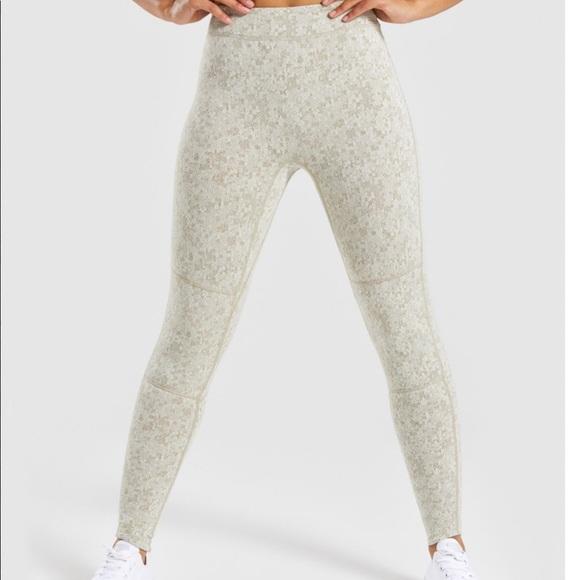 89a82d4062008 Gymshark Pants | Fleur Texture Leggings Washed Khaki Marl | Poshmark